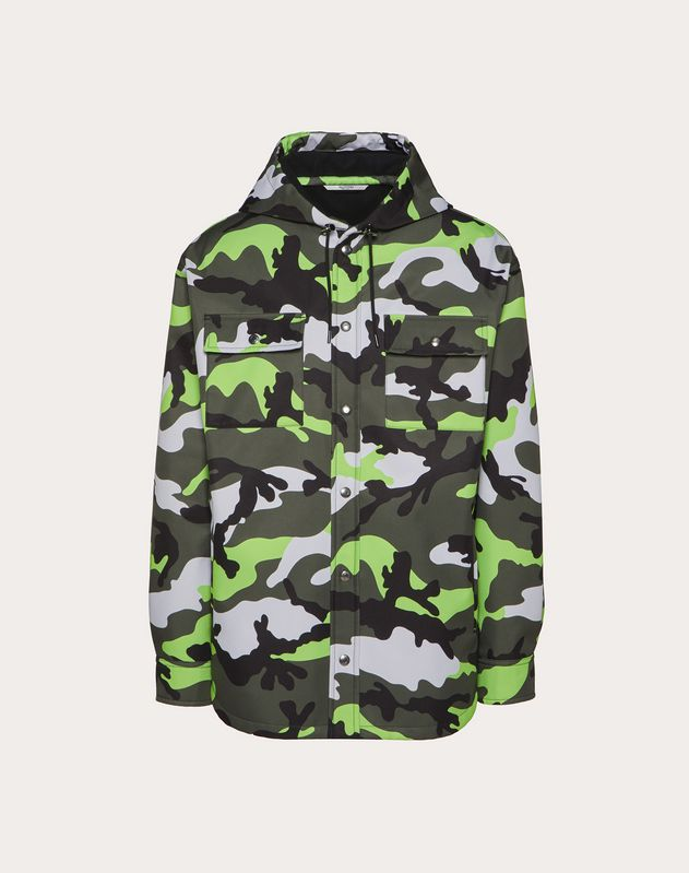 HOODED PEACOAT WITH CAMOUFLAGE PRINT
