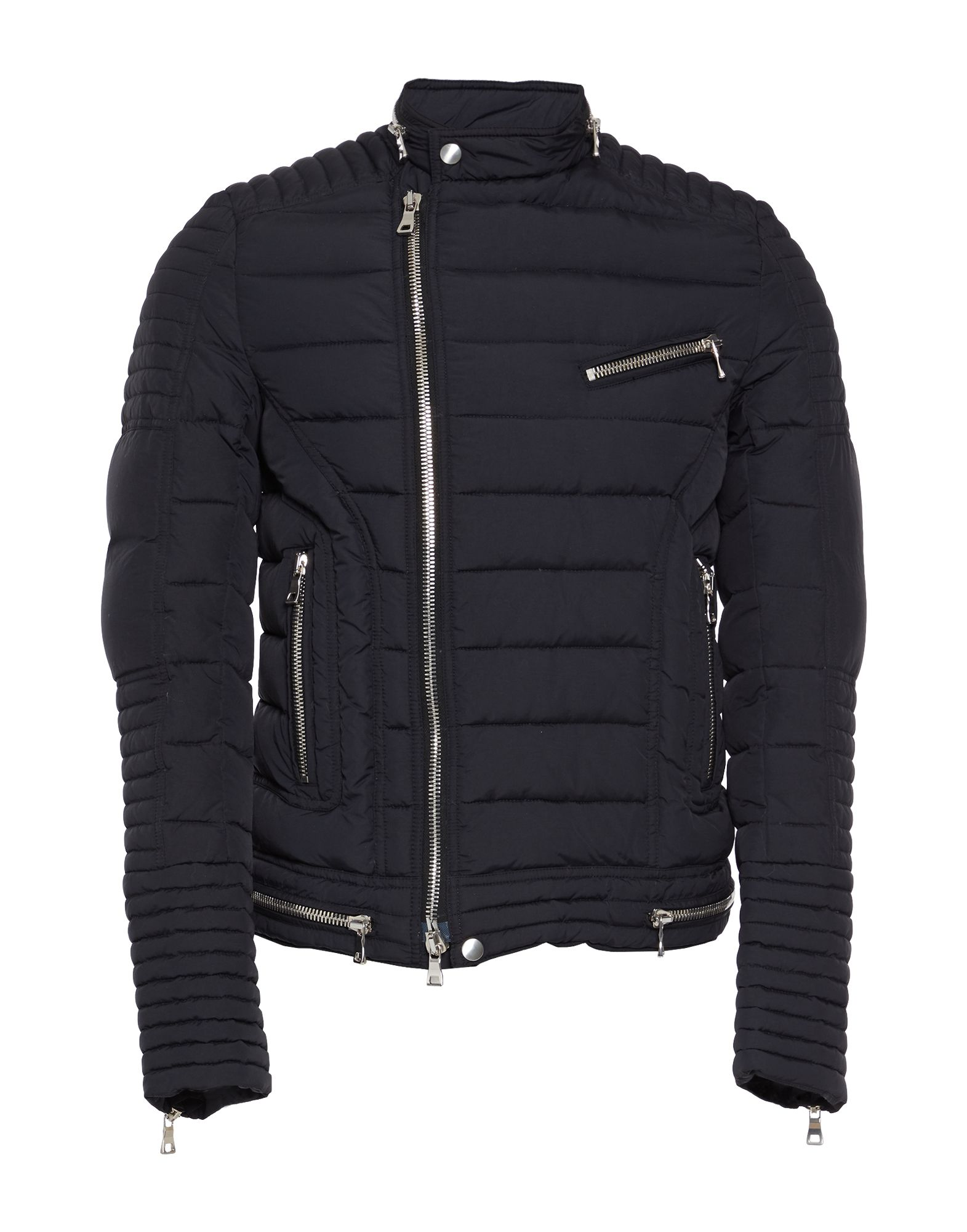BALMAIN Down jackets. techno fabric, solid color, single-breasted, multipockets, long sleeves, duck down filling, small sized, round collar, no appliqués, contains non-textile parts of animal origin, water resistant, zipped cuffs. 100% Polyamide