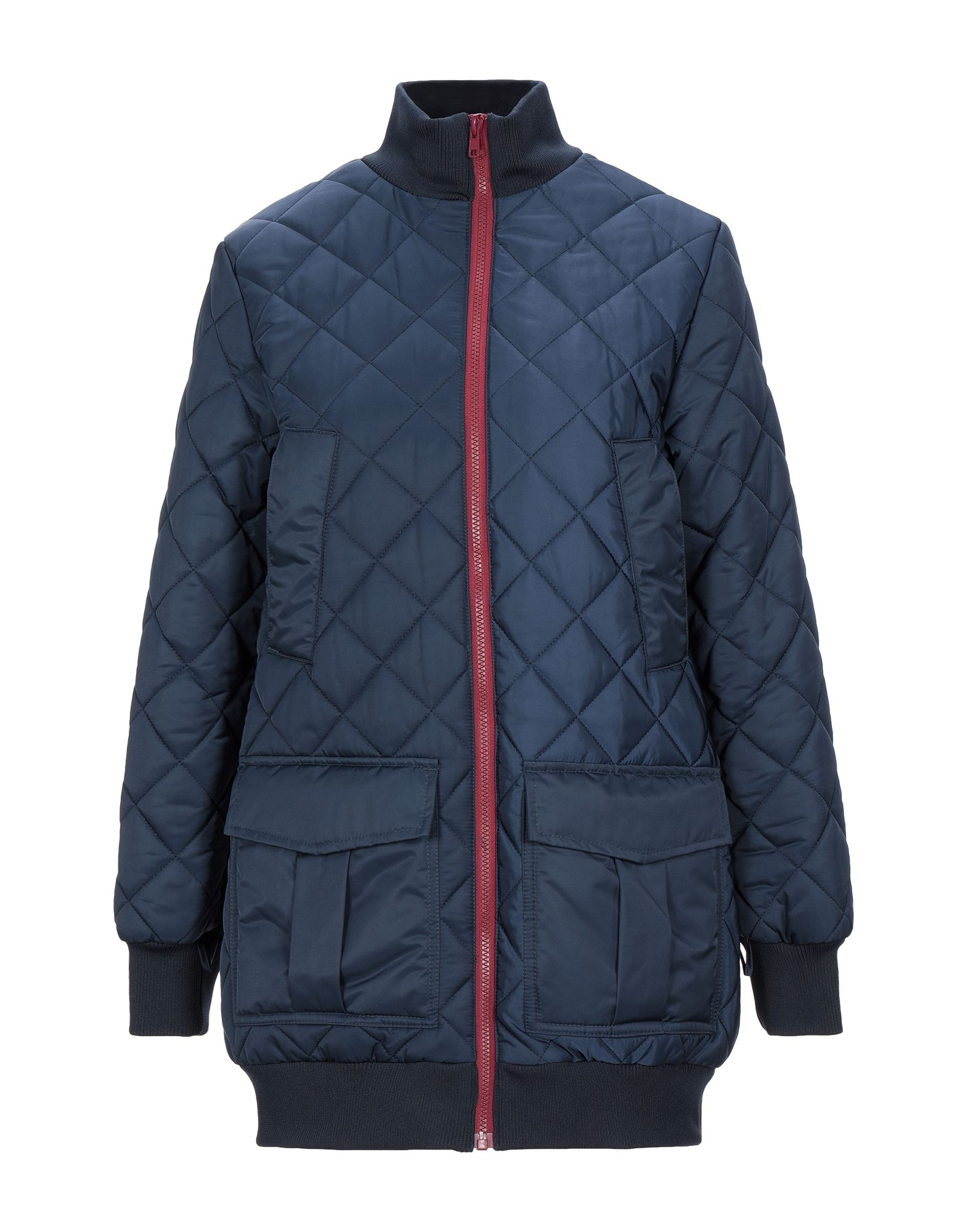 GANNI Synthetic Down Jackets. techno fabric, quilted, no appliqués, solid color, single-breasted, zipper closure, turtleneck, multipockets, long sleeves, knitted cuffs, internal padding, elasticated waist, large sized. 100% Polyester