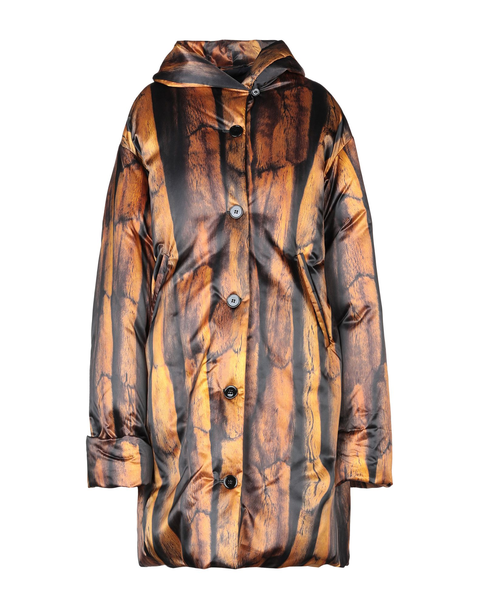 MM6 MAISON MARGIELA Down jackets. techno fabric, multicolor pattern, single-breasted, rear button closure, turtleneck, multipockets, long sleeves, duck down filling, contains non-textile parts of animal origin. 100% Polyamide