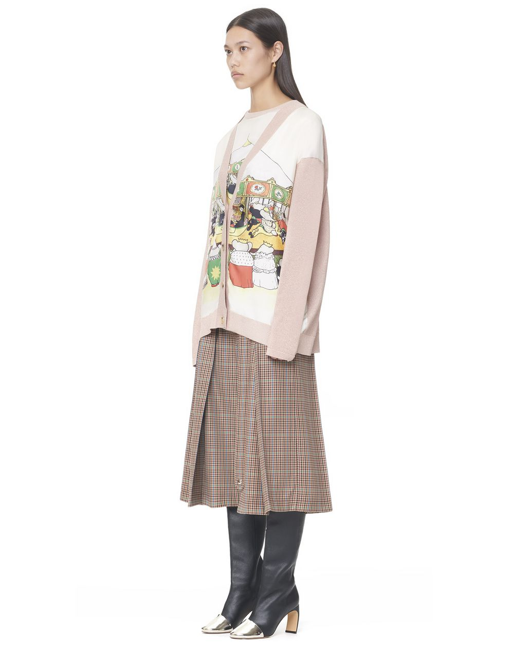 V-NECK CARDIGAN WITH CONTRASTING FRONT PRINTED SILK PANELS - Lanvin