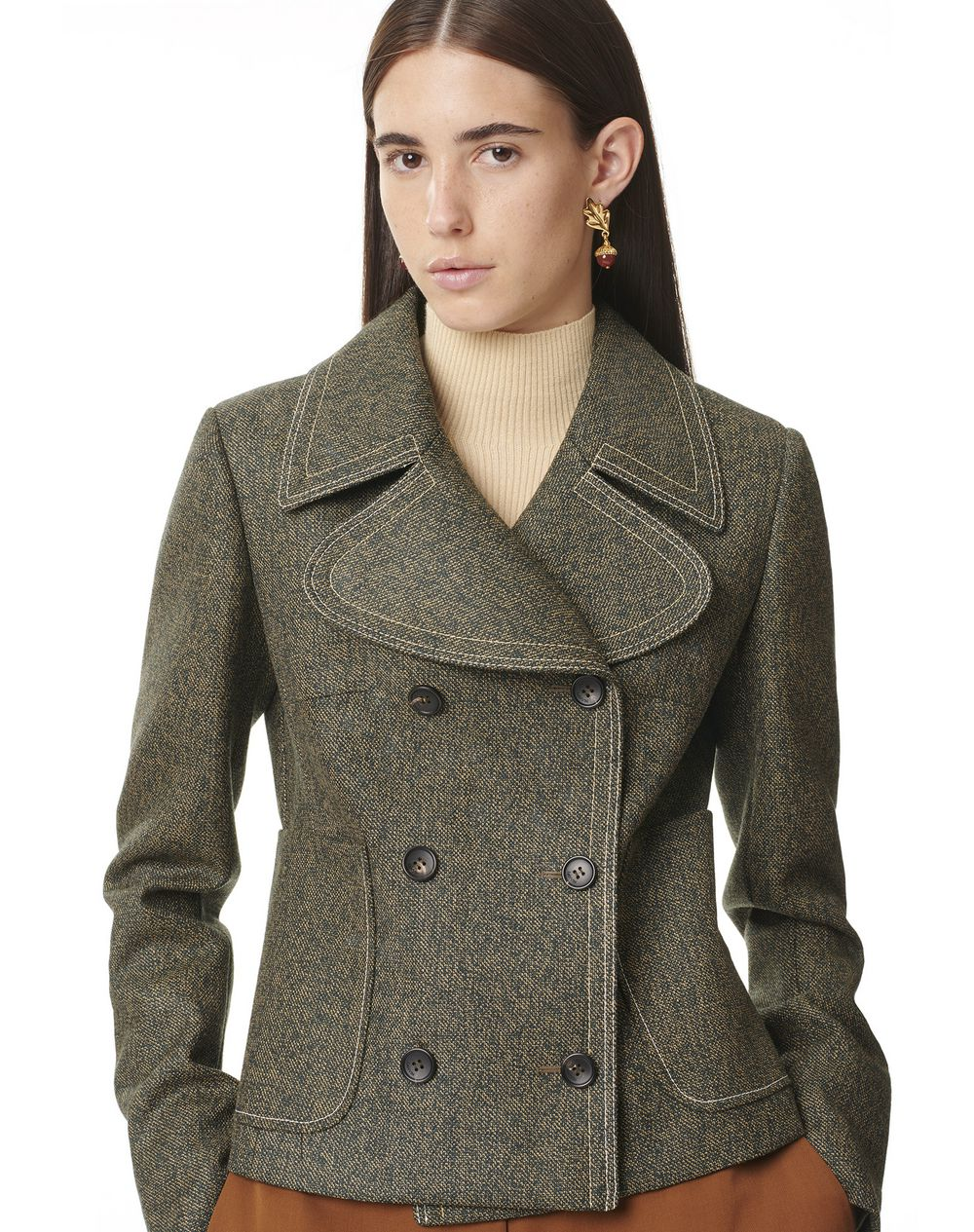 SHORT DOUBLE BREASTED FITTED COAT - Lanvin