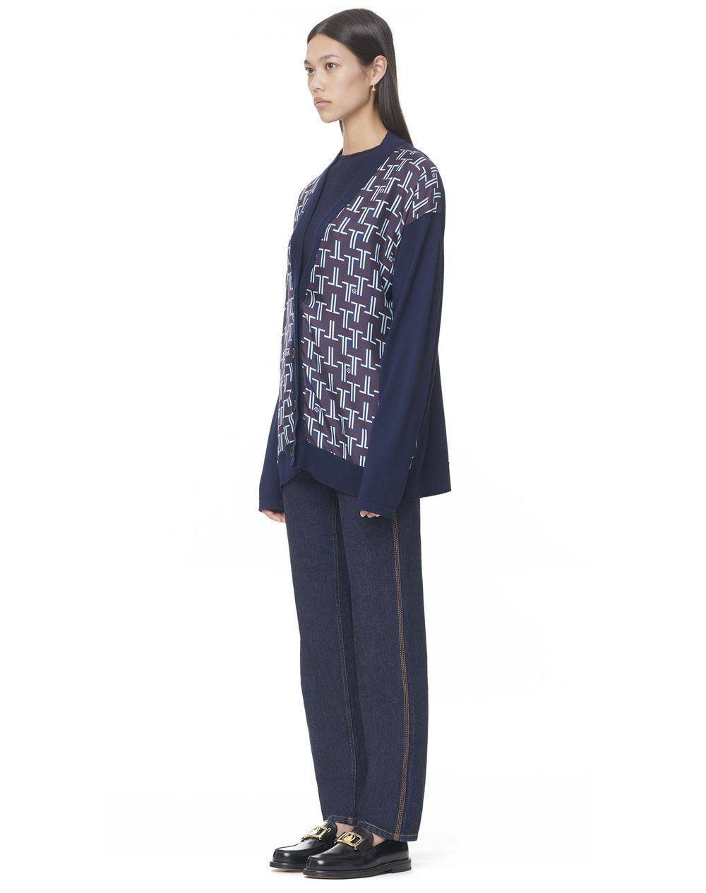 V-NECK CARDIGAN WITH FRONT PRINTED SILK PANELS - Lanvin