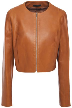 THE ROW Tezra cropped leather jacket