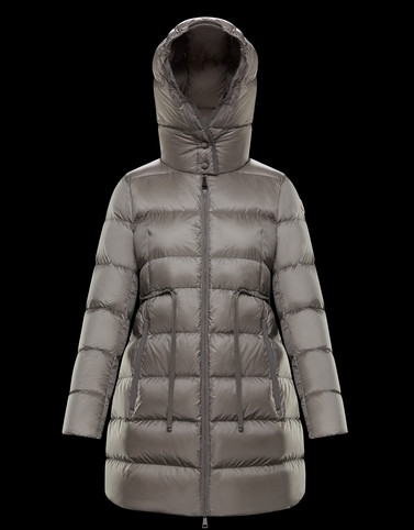 BANNEC Light grey Long Down Jackets Woman