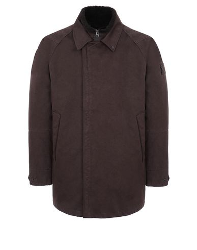 STONE ISLAND 440F1 RASO GOMMATO DOUBLE_GHOST PIECE WITH DETACHABLE LINING Mid-length jacket Man Dark Brown USD 1336