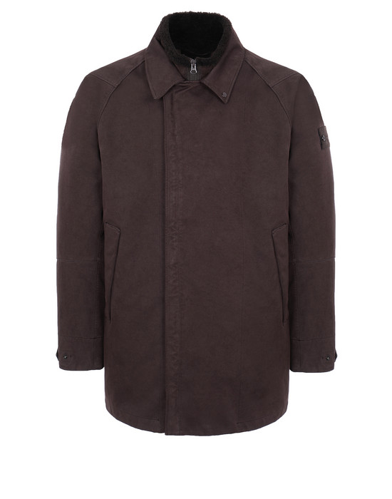 STONE ISLAND 440F1 RASO GOMMATO DOUBLE_GHOST PIECE WITH DETACHABLE LINING Mid-length jacket Man Dark Brown