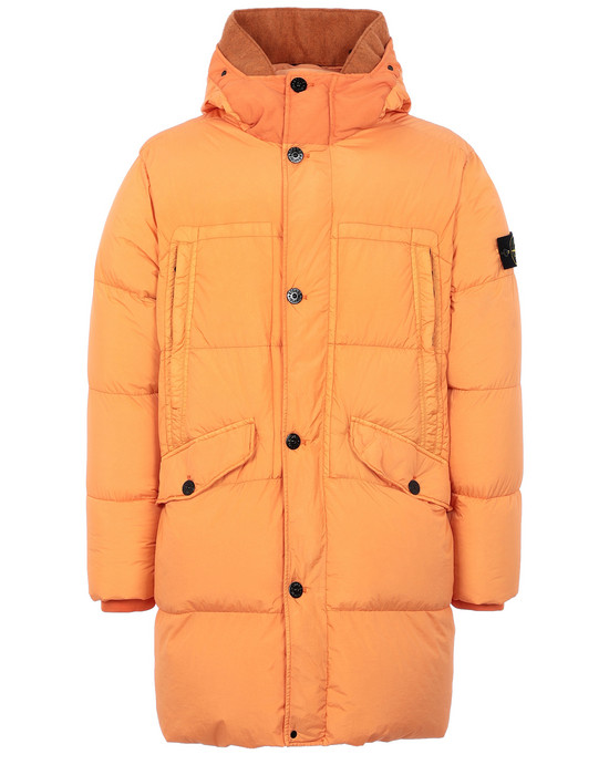 STONE ISLAND 70123 GARMENT DYED CRINKLE REPS NY DOWN Mid-length jacket Man Orange