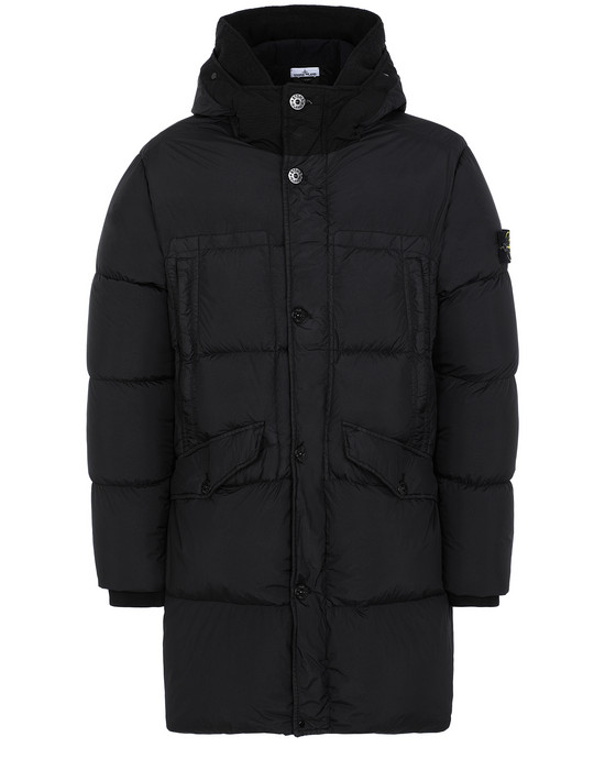 STONE ISLAND 70123 GARMENT DYED CRINKLE REPS NY DOWN Mid-length jacket Man Black