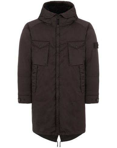 STONE ISLAND 716F2 STRETCH WOOL NYLON-TC DOWN_GHOST PIECE Mid-length jacket Man Dark Brown EUR 1155