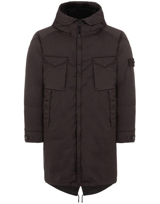 STONE ISLAND 716F2 STRETCH WOOL NYLON-TC DOWN_GHOST PIECE Mid-length jacket Man Dark Brown