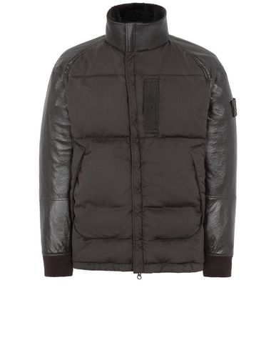 STONE ISLAND 002F3 FEATHERWEIGHT LEATHER WITH STRETCH WOOL NYLON DOWN_GHOST PIECE VESTE MI-LONGUE EN CUIR Homme Brun foncé EUR 2399