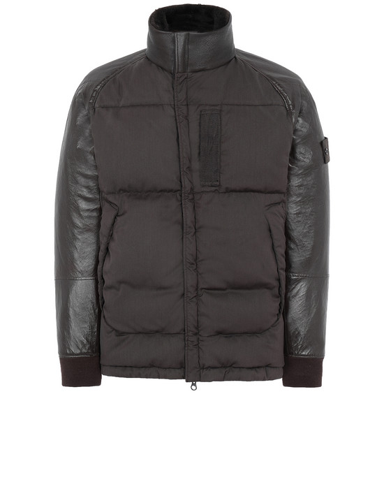 LEATHER MID-LENGTH JACKET Man 002F3 FEATHERWEIGHT LEATHER WITH STRETCH WOOL NYLON DOWN_GHOST PIECE Front STONE ISLAND