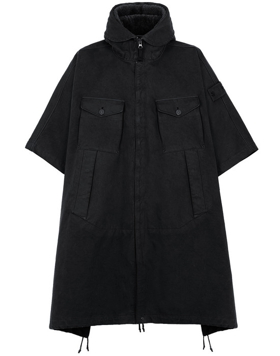 STONE ISLAND 717F1 RASO GOMMATO DOUBLE_GHOST PIECE CAPE Man Black
