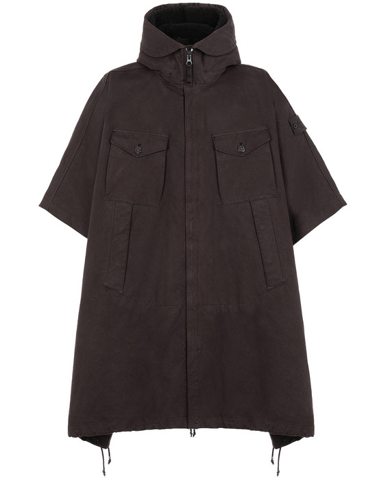 STONE ISLAND 717F1 RASO GOMMATO DOUBLE_GHOST PIECE CAPE Man Dark Brown