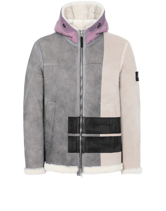 Sold out - STONE ISLAND 00195 HAND SPRAYED OVER PRINTED SHEEPSKIN LEATHER MID-LENGTH JACKET Man Dove Gray