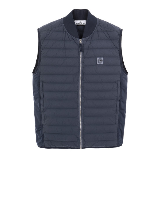 STONE ISLAND G0225 LOOM WOVEN DOWN CHAMBERS STRETCH NYLON-TC Vest Man Marine Blue