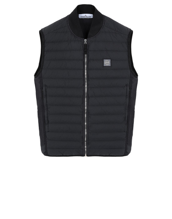 STONE ISLAND G0225 LOOM WOVEN DOWN CHAMBERS STRETCH NYLON-TC Vest Man Black