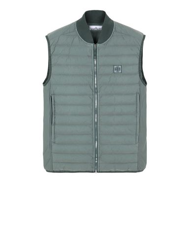 STONE ISLAND G0225 LOOM WOVEN DOWN CHAMBERS STRETCH NYLON-TC Vest Man Sage Green EUR 341