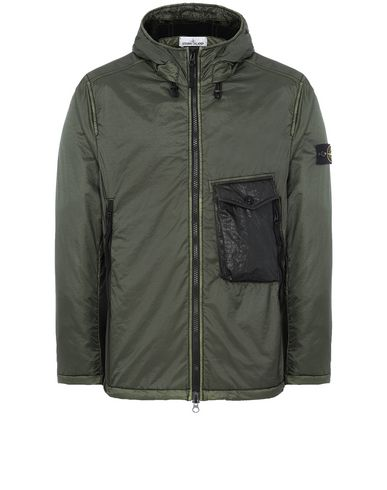STONE ISLAND 43035 LAMY FLOCK Jacket Man Musk Green USD 491