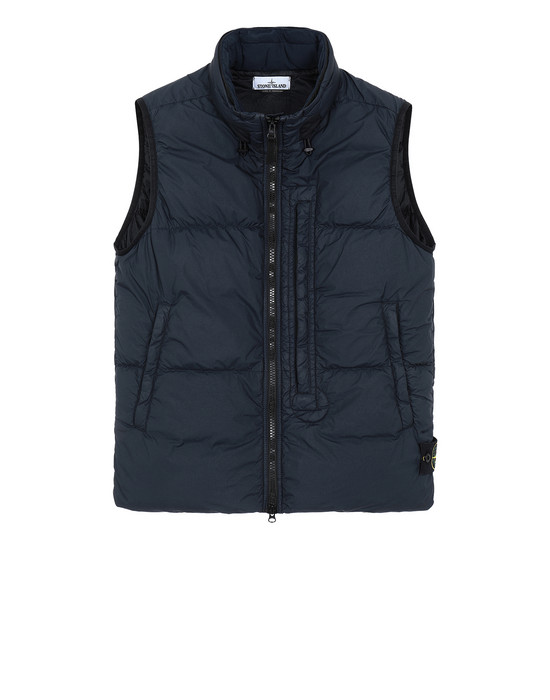 STONE ISLAND G0123 GARMENT DYED CRINKLE REPS NY DOWN Waistcoat Man Blue