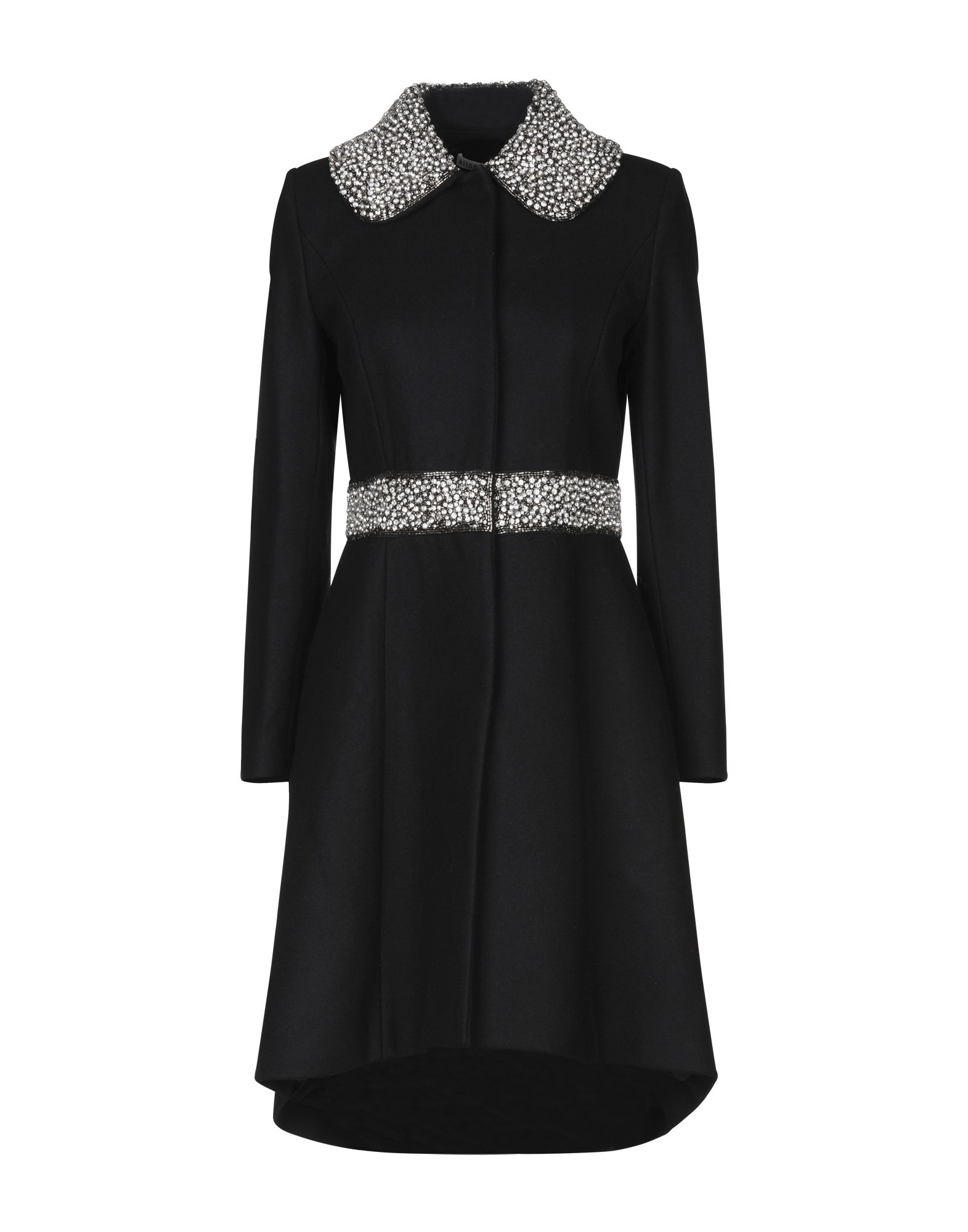 ALICE + OLIVIA Coats. flannel, rhinestones, solid color, single-breasted, snap buttons fastening, peter pan collar, multipockets, long sleeves, fully lined, large sized. 80% Virgin Wool, 20% Nylon, Polyester