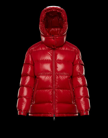 MAIRE Red Short Down Jackets Woman