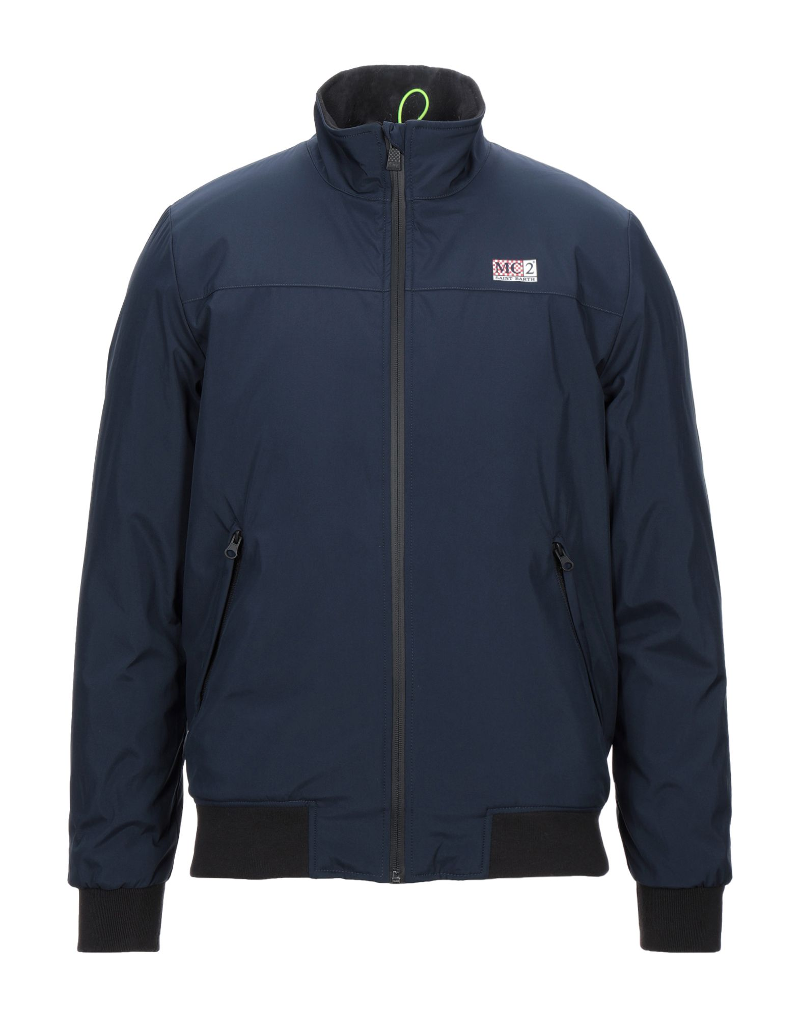 MC2 SAINT BARTH Jackets. plain weave, logo, basic solid color, single-breasted, zipper closure, round collar, multipockets, long sleeves, faux fur inner. 100% Polyester