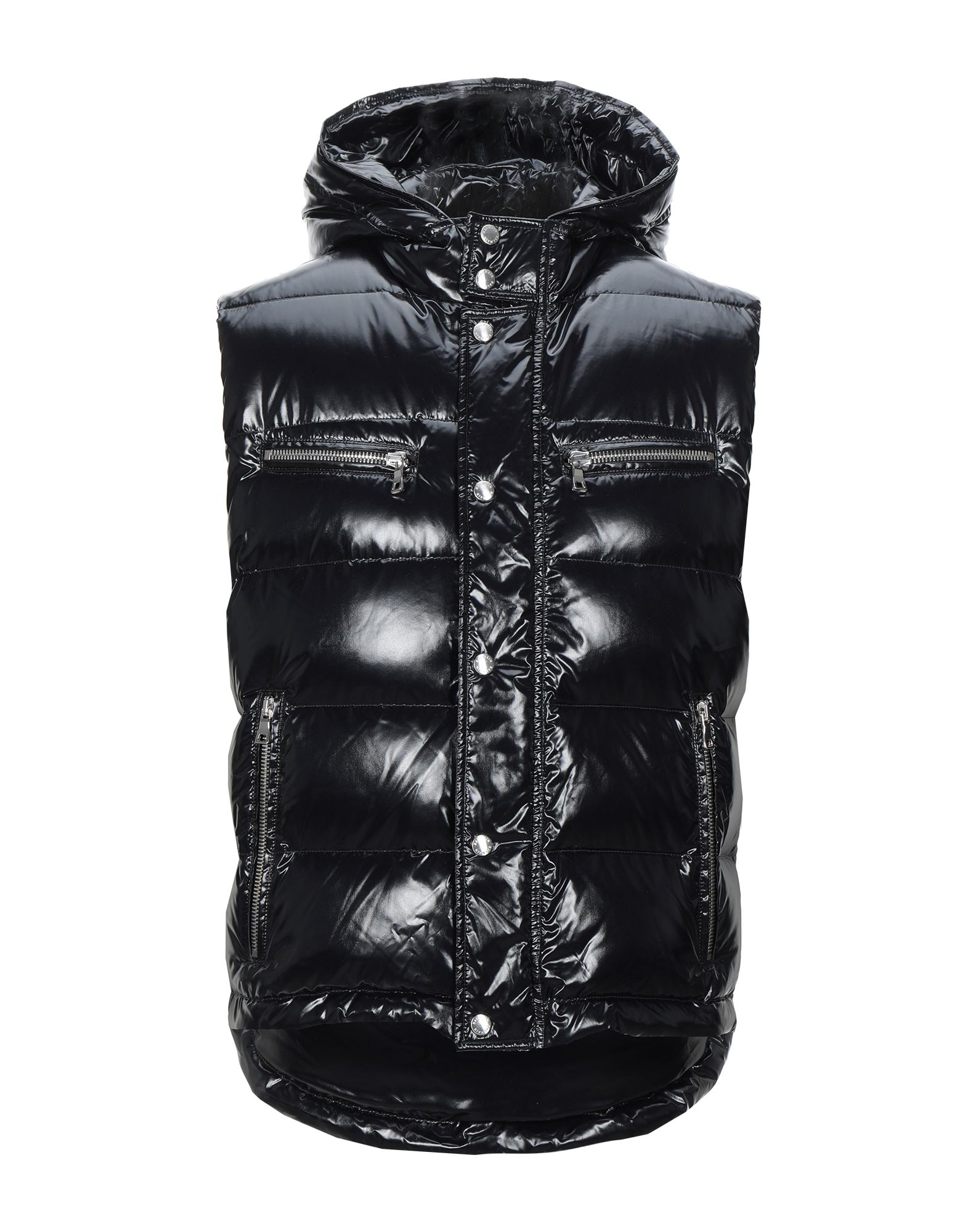 BALMAIN Synthetic Down Jackets. techno fabric, stitching, basic solid color, single-breasted, snap-buttons, zip, hooded collar, multipockets, sleeveless, internal padding, small sized. 100% Polyamide