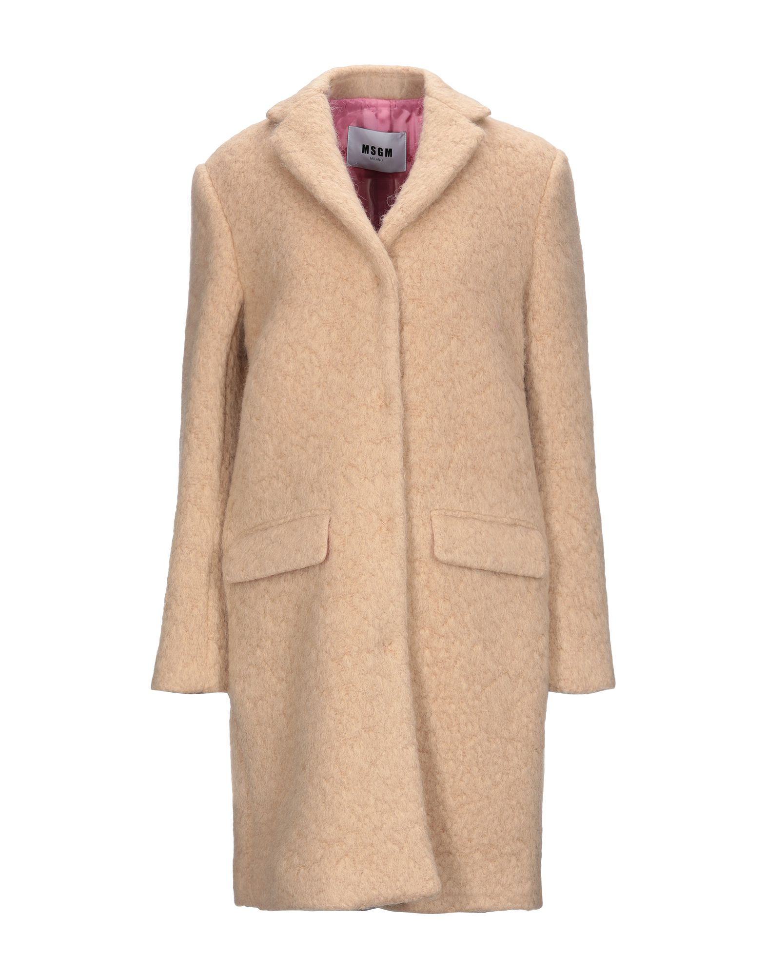 MSGM Coats. bouclé, no appliqués, solid color, single-breasted, snap buttons fastening, lapel collar, multipockets, long sleeves, fully lined, large sized. 88% Virgin Wool, 12% Polyamide