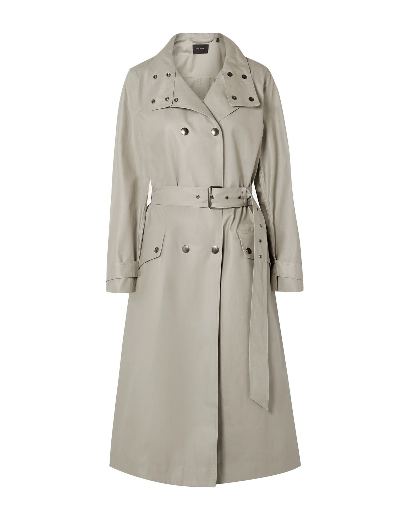 ISABEL MARANT Overcoats. plain weave, belt, solid color, double-breasted, snap buttons fastening, turtleneck, multipockets, long sleeves, rear slit, unlined, large sized. 100% Cotton, Brass