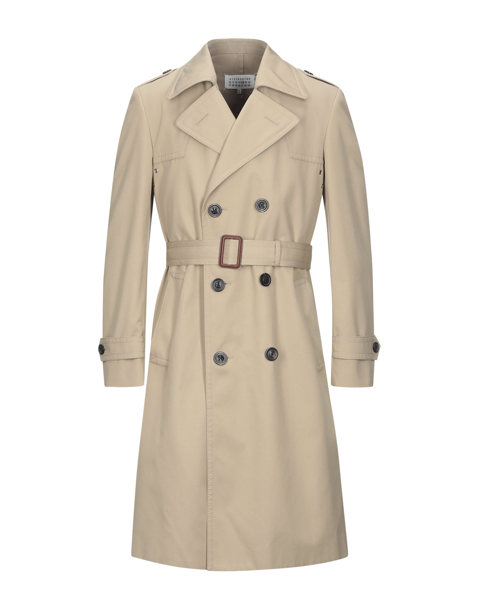 MAISON MARGIELA Overcoats. twill, flashes, belt, basic solid color, double-breasted, button closing, lapel collar, multipockets, long sleeves, strapped cuffs, fully lined, large sized. 65% Polyester, 35% Cotton