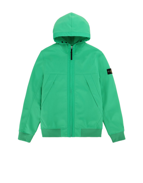 STONE ISLAND JUNIOR Q0130 SOFT SHELL-R LIGHTWEIGHT JACKET Man Green