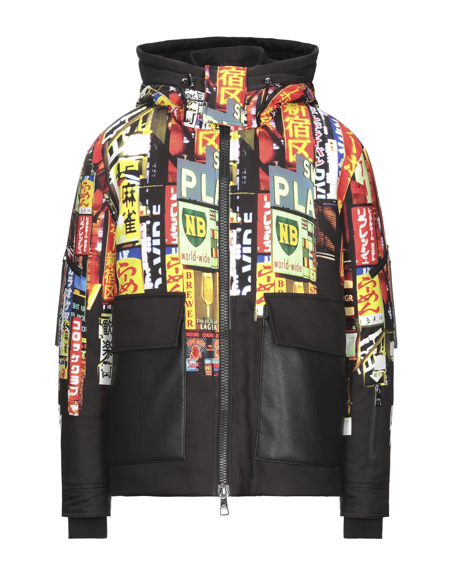 NEIL BARRETT Synthetic Down Jackets. faux leather, techno fabric, logo, multicolor pattern, single-breasted, zipper closure, hooded collar, fully lined, multipockets, long sleeves, large sized. 100% Polyester, Polyamide, Elastane, Polyurethane
