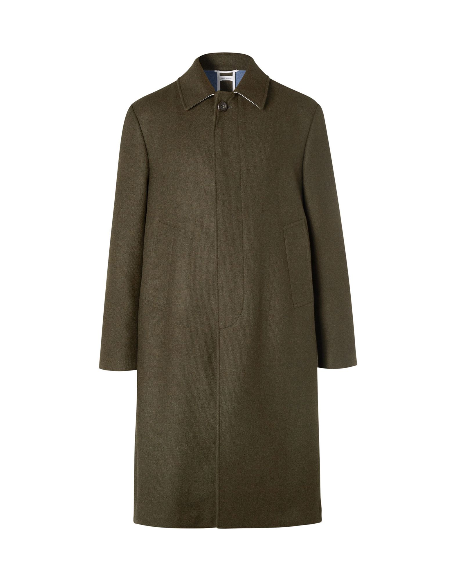 THOM BROWNE Coats. baize, logo, basic solid color, single-breasted, button closing, lapel collar, multipockets, long sleeves, rear slit, unlined. 100% Wool, Cotton