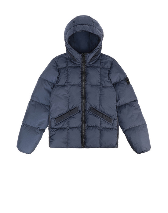 STONE ISLAND JUNIOR 40333 GARMENT DYED CRINKLE REPS NY DOWN Jacket Man Marine Blue