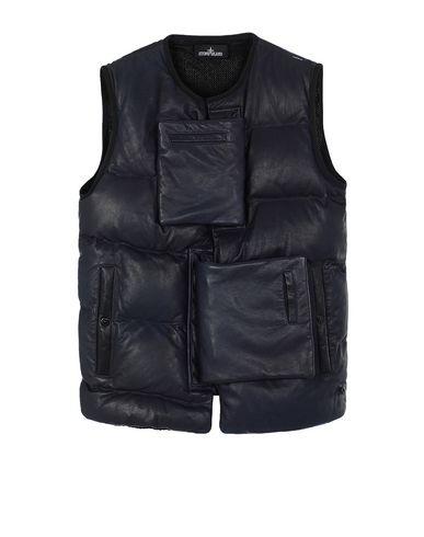 STONE ISLAND SHADOW PROJECT 002IL ENCASE PANEL DOWN VEST Waistcoat Man Dark blue EUR 1742