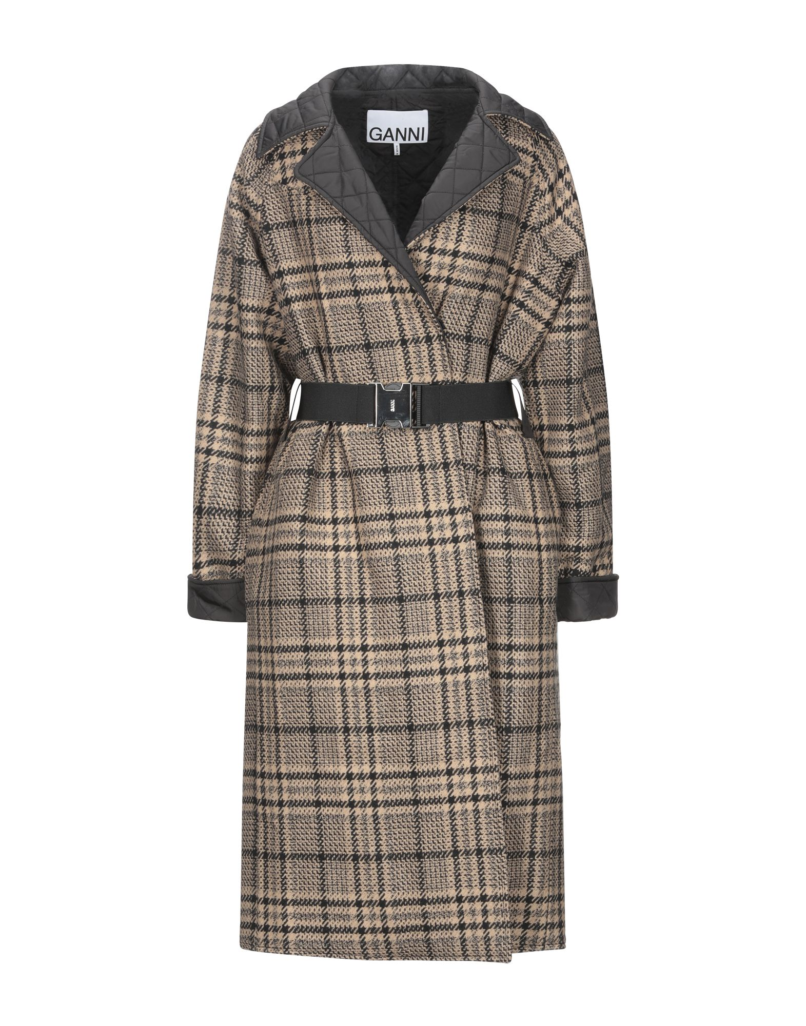GANNI Coats. flannel, belt, checked, double-breasted, snap buttons fastening, lapel collar, multipockets, long sleeves, fully lined, large sized, double face. 63% Wool, 32% Acrylic, 5% Polyester