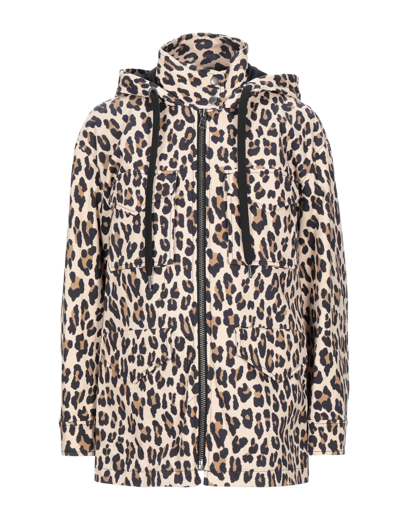 ALICE + OLIVIA Jackets. plain weave, logo, leopard-print, single-breasted, zipper closure, hooded collar, multipockets, long sleeves, fully lined, stretch, large sized. 97% Cotton, 3% Elastane