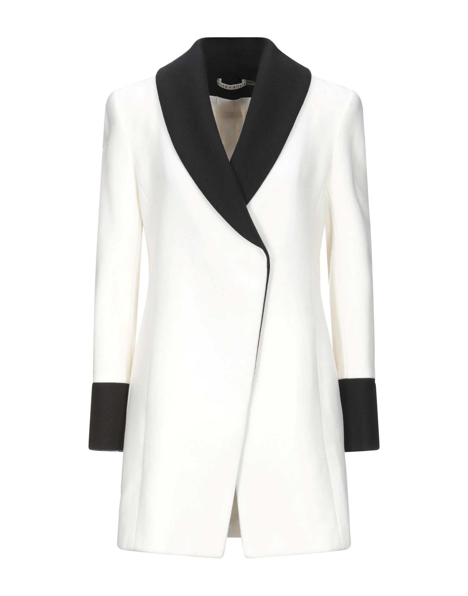 ALICE + OLIVIA Coats. baize, no appliqués, two-tone, single-breasted, snap buttons fastening, lapel collar, multipockets, long sleeves, fully lined, large sized. 80% Wool, 20% Nylon