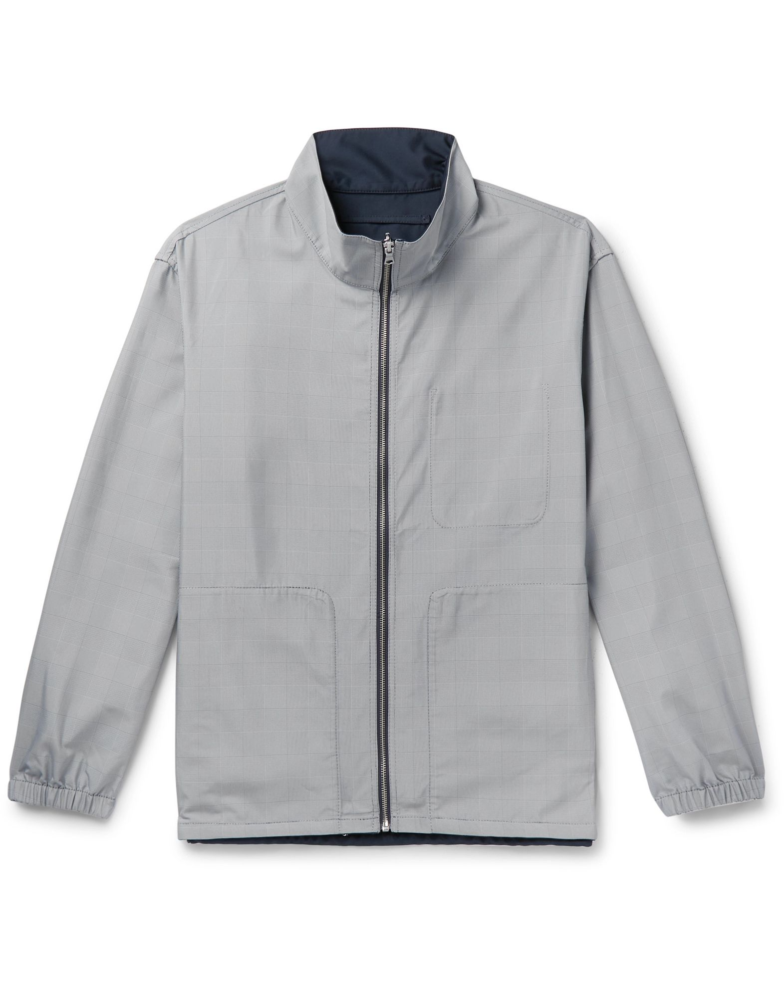 CLUB MONACO Jackets. techno fabric, no appliqués, glen plaid, single-breasted, zipper closure, turtleneck, multipockets, long sleeves, elasticated cuffs, fully lined, double face. 100% Polyester