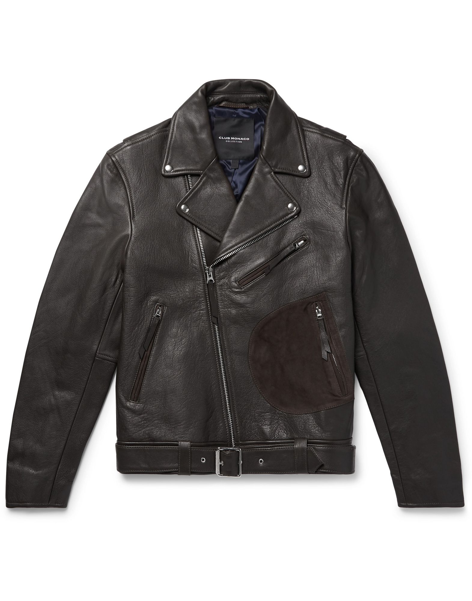 CLUB MONACO Jackets. textured leather, suede effect, belt, basic solid color, single-breasted, zipper closure, lapel collar, multipockets, long sleeves, zipped cuffs, fully lined, contains non-textile parts of animal origin. 100% Bovine leather, Goat skin