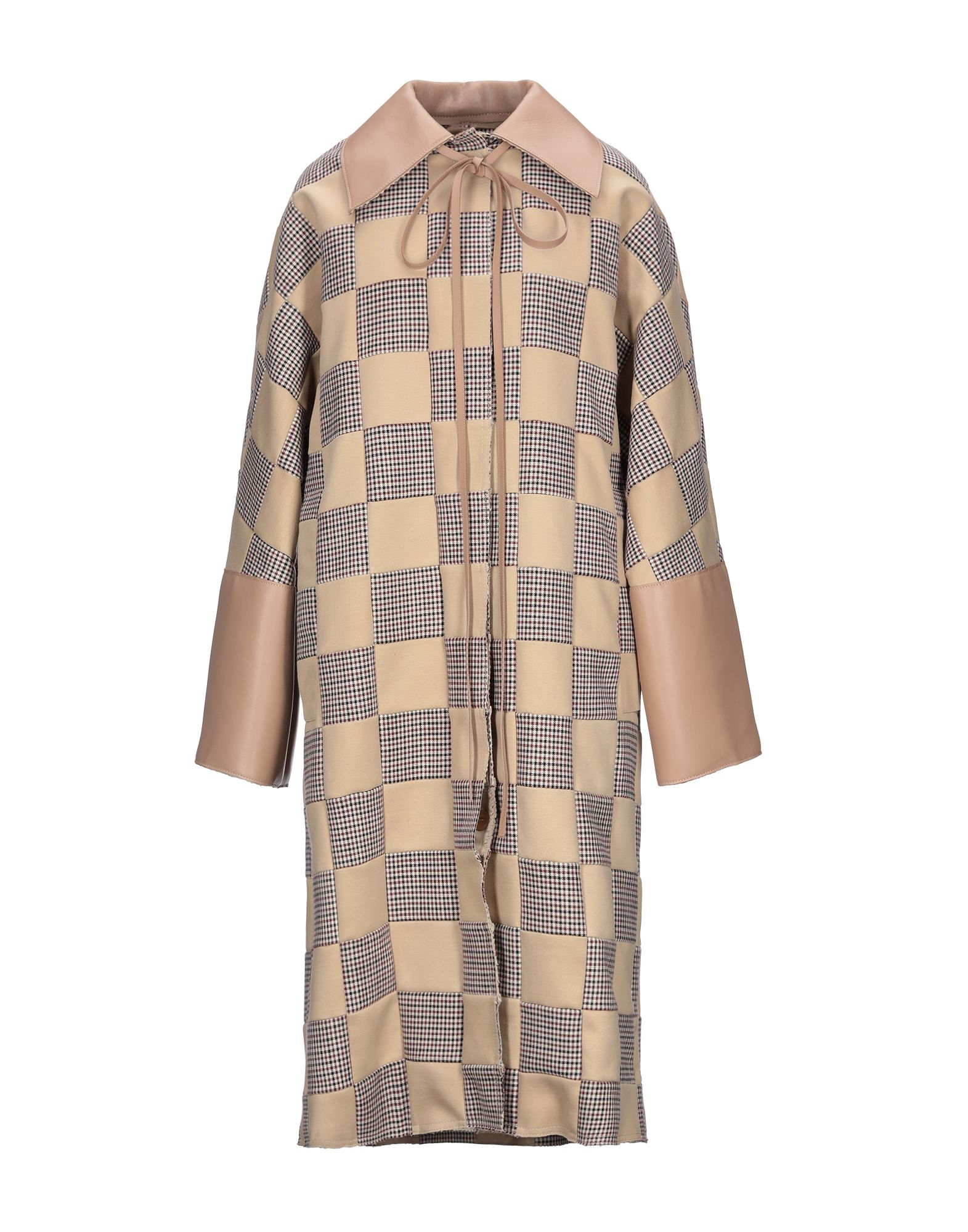 LOEWE Coats. plain weave, leather, laces, checked, single-breasted, button closing, classic neckline, multipockets, long sleeves, fully lined, contains non-textile parts of animal origin. 100% Cotton, Lambskin