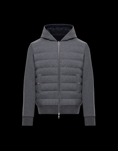 HOODED CARDIGAN Grey Sweatshirts Man