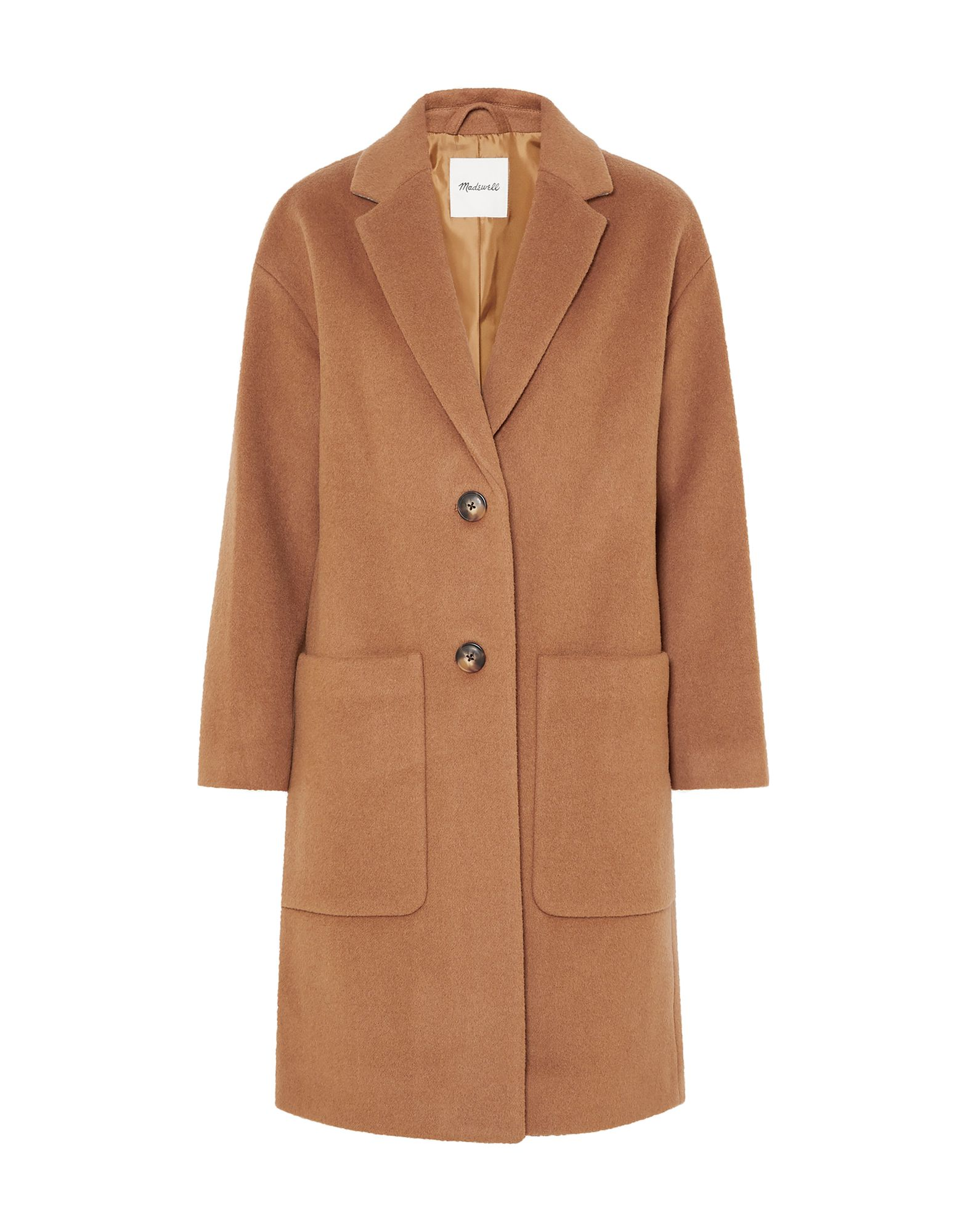 MADEWELL Coats. baize, no appliqués, basic solid color, single-breasted, button closing, lapel collar, multipockets, long sleeves, fully lined. 80% Wool, 20% Polyamide, Viscose