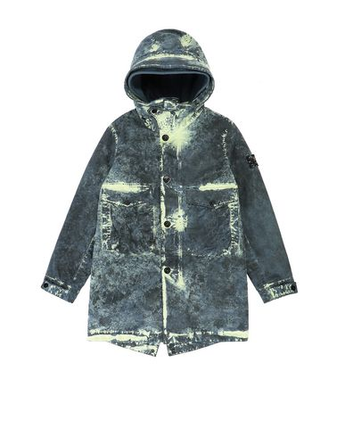 STONE ISLAND JUNIOR 41638 PAINTBALL CAMO COTTON CANVAS  Mid-length jacket Man Avio Blue USD 505