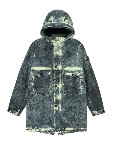 STONE ISLAND TEEN 41638 PAINTBALL CAMO COTTON CANVAS  Mid-length jacket Man Avio Blue USD 1073