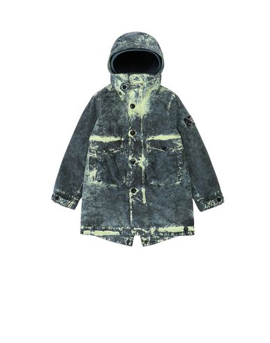 STONE ISLAND KIDS 41638 PAINTBALL CAMO COTTON CANVAS  Mid-length jacket Man Avio Blue USD 454