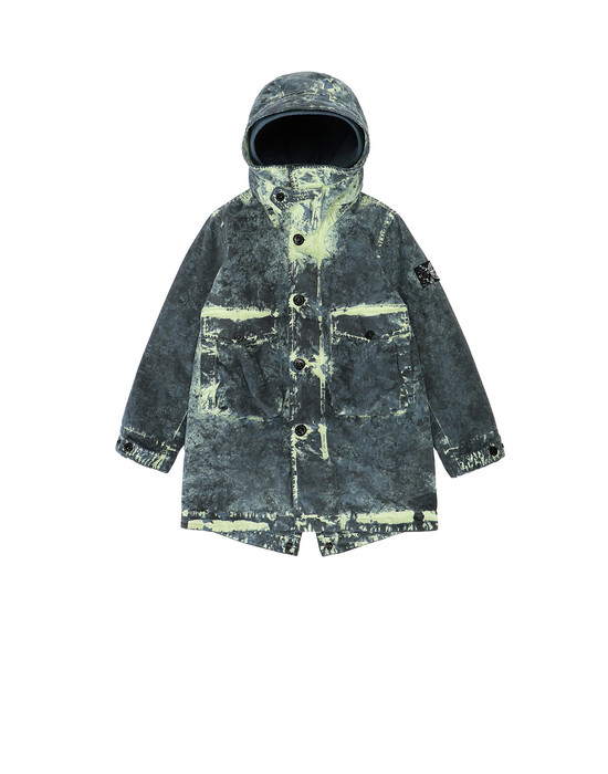 STONE ISLAND KIDS 41638 PAINTBALL CAMO COTTON CANVAS  Mid-length jacket Man Avio Blue