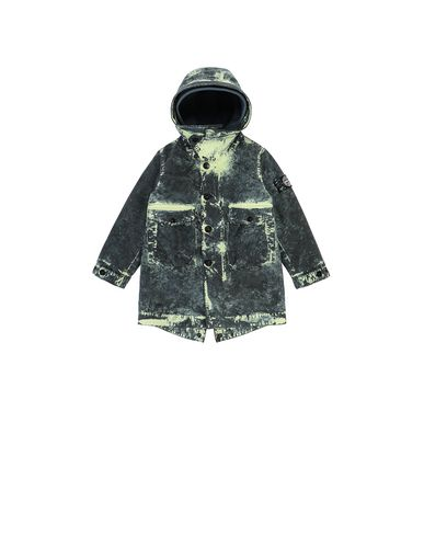 STONE ISLAND BABY 41638 PAINTBALL CAMO COTTON CANVAS  Mid-length jacket Man Avio Blue USD 401